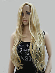 New Fashion No Bangs Side Skin Part Top Women's Golden Blonde Mix Long Curly Wavy Wig