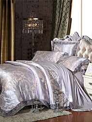 cheap -Soft Queen King Size Bedding Set Luxury Silk Cotton Blend Lace Duvet Cover Sets Jacquard Pattern