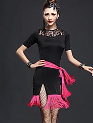 economico -Balli latino-americani Vestiti Per donna Prestazioni Nylon Chinlon Nappa Maniche corte Alto Abito Cintura