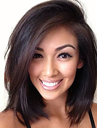 cheap -Human Hair Lace Wig Straight With Baby Hair With Bangs Brown Short Medium Long Wig Daily