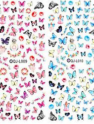 2pcs prego de transferência da água do projeto unhas arte etiqueta colorida borboleta unhas envolve unhas etiqueta de marca d'água