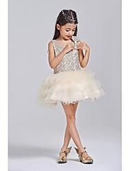 abito di sfera short / mini vestito dalla ragazza del fiore - collo del manicotto sleeveless del tulle del poliestere con l'arco (s) da thstylee