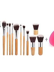 manico di bambù 11pc e capelli di nylon set pennello cosmetico trucco e piccole dimensioni spugna trucco