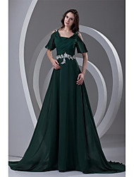 A-Line Straps Court Train Chiffon Formal Evening Dress with Beading Appliques Pleats by TS Couture®