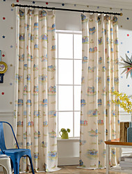 Linen Bright-coloured Cartoon Printing Curtain (Two Panel)