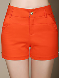 Women's Solid White  Black  Green  Orange Shorts Pants,Casual  Day  Simple