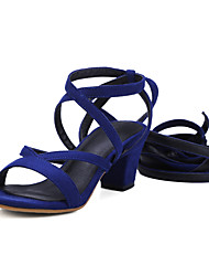 economico -Da donna Scarpe Finta pelle Cinturino alla caviglia Club Shoes Sandali Quadrato Occhio di pernice Lacci Per Casual Formale Nero Marrone