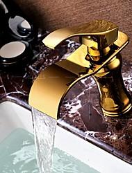 baratos -Clássica Conjunto Central Cascata Separada Válvula Cerâmica Monocomando e Uma Abertura Ti-PVD, Torneira pia do banheiro