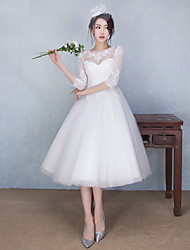 cheap -A-Line Illusion Neck Tea Length Tulle / Sheer Lace Made-To-Measure Wedding Dresses with Beading / Appliques by LAN TING Express