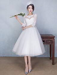 economico -Vestito da cerimonia nuziale del merletto del merletto di lunghezza del tè di illusione di a-line con bordare da lan ting bride®