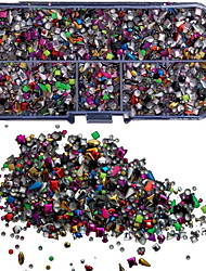 5000pcs misturar tachas coloridas rviets caixa de nail art decoração