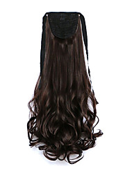 ricci scuri marrone sintetico tipo benda parrucca di capelli coda di cavallo pera