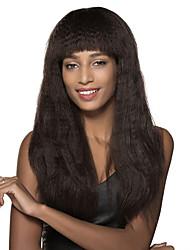 seda de milho longo Remy cabelo humano peruca sem tampa