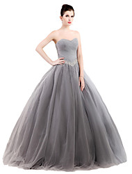 cheap -Ball Gown Strapless Floor Length Tulle Stretch Satin Formal Evening Dress with Crystal Detailing by SG