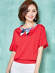 cheap -Women's Color Block Pink / Red / White / Orange Blouse,Round Neck ½ Length Sleeve