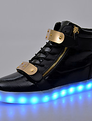 cheap -LED Light Up Shoes, Running Shoes Men's Shoes / Athletic / Casual Patent Leather Fashion Sneakers Black / White