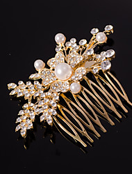 cheap -Silver/Gold Leaf Shape Crystal Pearl Hair Combs for Wedding Party Lady