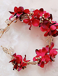 cheap -Brass Fabric Headbands Headwear with Floral 1pc Wedding Special Occasion Outdoor Headpiece