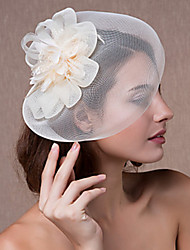 cheap -Tulle Lace Feather Fascinators Headwear with Floral 1pc Wedding Special Occasion Headpiece