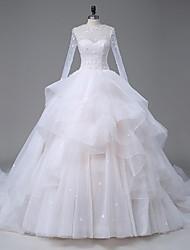 Vestito da cerimonia nuziale organza del treno della cattedrale di neckline di illusione a-line con il cristallo di lan ting bride®