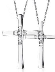 Недорогие -Муж. Женский Крест Роскошь С перекрещивающимися бретелями европейский Ожерелья с подвесками Кулоны Титановая сталь Искусственный бриллиант