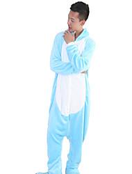 baratos -Adulto Pijamas Kigurumi Hipopótamo Pijamas Macacão Ocasiões Especiais Velocino de Coral Azul Cosplay Para Pijamas Animais desenho animado Dia das Bruxas Festival / Celebração / Natal