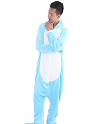cheap -Kigurumi Pajamas Hippo Onesie Pajamas Costume Coral fleece Blue Cosplay For Adults' Animal Sleepwear Cartoon Halloween Festival / Holiday