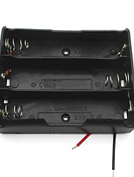 cheap -3-Slot 3.7V 18650 Battery Holder Case Box w/ Leads – Black