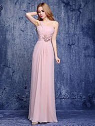 cheap -A-Line One Shoulder Floor Length Chiffon Bridesmaid Dress with Flower by LAN TING Express