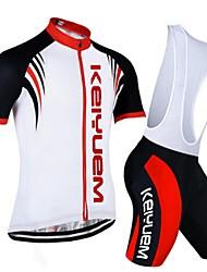KEIYUEM Fahrradtrikot mit Trägerhosen Unisex Kurzarm Fahhrad Kleidungs-Sets Rasche Trocknung Staubdicht tragbar Atmungsaktiv
