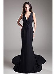 cheap -Mermaid / Trumpet V-neck Court Train Chiffon Formal Evening Dress with Beading by TS Couture®