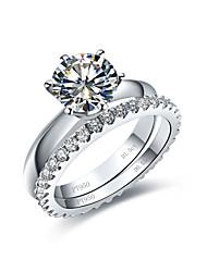 abordables -Femme Diamant synthétique Argent sterling Anneau de déclaration - Six Griffes / Infini Argent Bague Pour