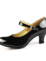 "cheap -Women's Modern Ballroom PU Leather Patent Leather Heel Buckle Cuban Heel Burgundy Black Red Silver Gold 2"" - 2 3/4"" Non Customizable by Shall We®"