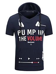 abordables -Sweat à capuche Homme Sports Lettre Coton Manches courtes