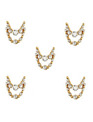 cheap -10pcs Gold Necklace Dangles with Clear Rhinestone 3D Charm Alloy Nail Art Decoration