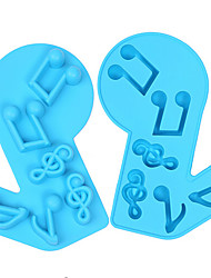 Music Notes Shape 3D Silicone Cake Molds DIY Kitchen Ice Cube Tray Chocolate Soap Molds Baking Tools Random Color