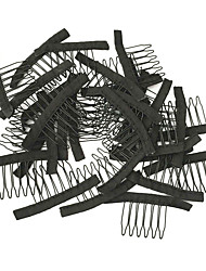 Недорогие -парик изготовления аксессуаров, парик гребенки и зажимы для крышки парика, черного цвета, дешевое цена 10pcs / lot