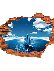 cheap -3D Wall Stickers Wall Decals Style Blue Sky Sea Sailing PVC Wall Stickers