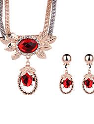 Parure di gioielli Cristallo Cristallo Strass Placcato oro rosa Lega Rosso Verde Blu Collana / orecchini Matrimonio Feste Quotidiano 1 Set