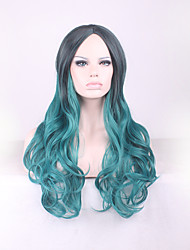 cheap -Best-selling Europe And The United States Long Curly Wig Black Gradient Green Points in Hair Wig