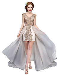 Ball Gown V-neck Asymmetrical Lace Organza Formal Evening Dress with Beading by SG