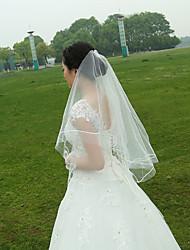 To-lags Båndkant Bryllupsslør Fingerspids Slør Med Perle Krøllede Folder Tyl