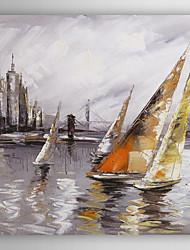ručně malované olejomalba krajina loď poblíž přístavu i při natažené rámem 7 stěny arts®