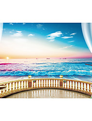 cheap -JAMMORY Art Deco Wallpaper Contemporary Wall Covering,Canvas Stereoscopic Large Mural  Gorgeous Sea View Room