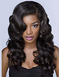cheap -Peruvian Human Hair 10-30Inch Body Wave Natural Color Lace Front Wig,In Stock