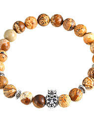 cheap -Women's Crown Lion Head Bracelet Natural Stone Beads Brown Bracelet