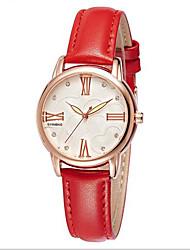 Damen Modeuhr Quartz Japanischer Quartz Wasserdicht Armbanduhren für den Alltag Leder Band Schwarz Rot Marke SYNOKE