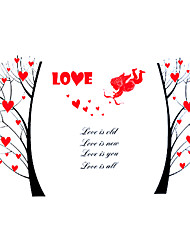 cheap -Wedding Romance Heart Love Tree Wall Stickers PVC Bedroom Cupid Wall Decals Environmental Wall Art