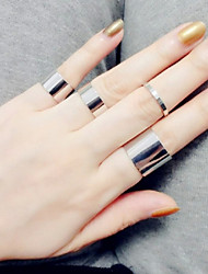 cheap -Ring Fashion / Adjustable Daily / Casual Jewelry Women / Men Midi Rings / Band Rings 4pcs,One Size Silver