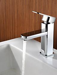 preiswerte -Zeitgenössisch deckenmontiert Einhand Ein Loch in Chrom Waschbecken Wasserhahn